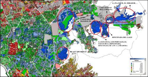 Color azul indica concentración de sectores de altos ingresos.