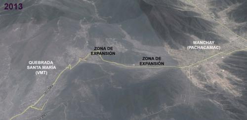 Los parientes pobres se encuentran: Santa María en VMT y Manchay en Pachacamac (Composición con G.Earth)