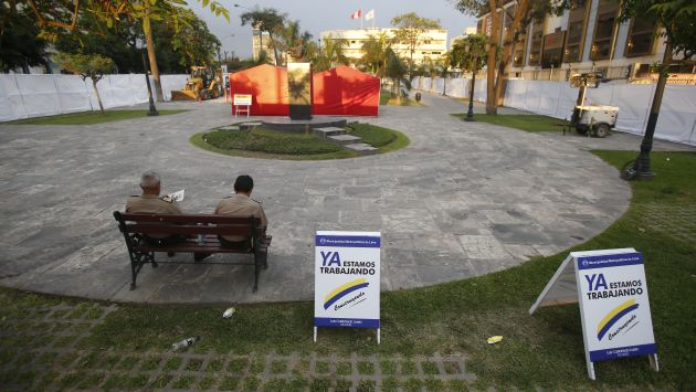 el monumento, cercado por una valla publicitaria de OAS y la MML (foto: peru21)