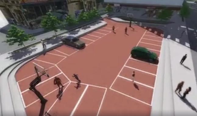 """""""Canchas de uso múltiple"""" promete New Life Independencia. Lo que vemos es un parqueo vehicular con cancha de básquet (captura de video)"""